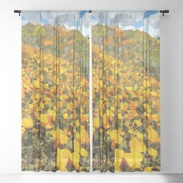 California Poppies Low Poly Geometric Triangles Sheer Curtain