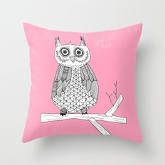 Pink Owl Gives A Hoot Throw Pillow