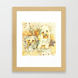 Penny and Copper Yorkie Mixes Framed Art Print