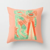 crocodile Throw Pillows featuring Crocodile by Natalie Young