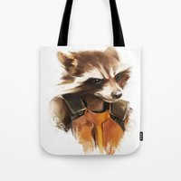 rocket raccoon Tote Bags featuring Rocket by cos-tam