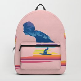 Rainbow tropical waves surfing man Backpack