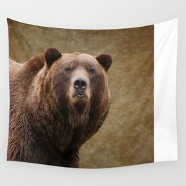 Brown Bear Stare Wall Tapestry