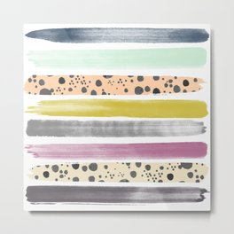 Watercolor Stripes I Metal Print