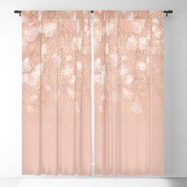 Elegant coral rose gold white ombre floral Blackout Curtain