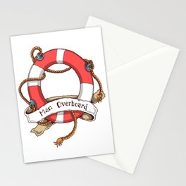 Man Overboard  sailor and boatman sea tattoo lover gift Stationery Cards