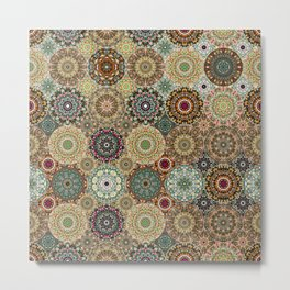 Kaleidoscope of Gems and Jewels Neutral Metal Print