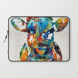 Colorful Cow Art - Mootown - By Sharon Cummings Laptop Sleeve