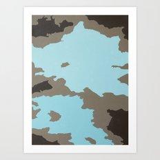 Aqua and Brown Abstract Art Print