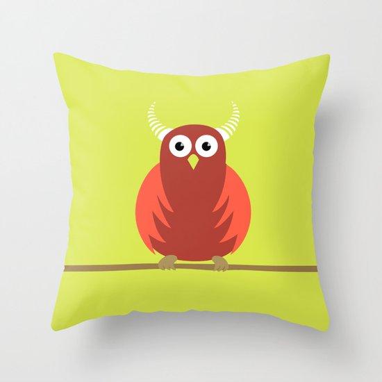 Red Cartoon Horned Owl Throw Pillow
