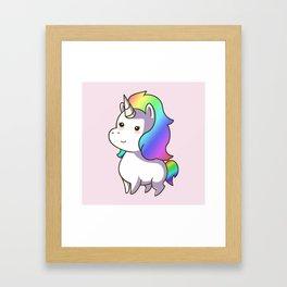 Super Cute Rainbow Unicorn Kawaii Framed Art Print