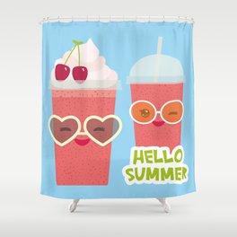 Hello Summer Kawaii cherry smoothie Shower Curtain