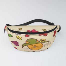 Cats Flower Hat Minimal Cool Trendy For Kids Fanny Pack