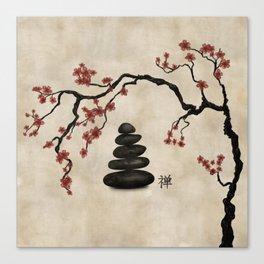 Zen stones Sakura Tree Canvas Print