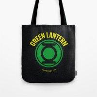 green lantern Tote Bags featuring GREEN LANTERN by Alberto Lamote de Grignon