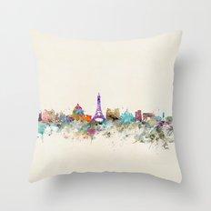Paris city skyline  Throw Pillow