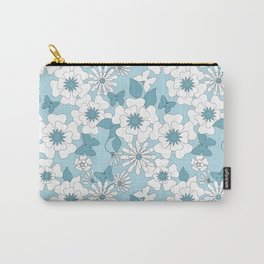 Pale blue floral pattern . Carry-All Pouch