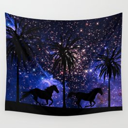 Galloping horses under starry sky Wall Tapestry