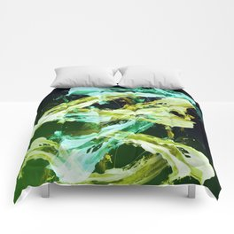 Green and Gold Expressionism Comforters