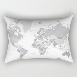 "Gray world map with cities, states and capitals, ""in the city"" Rectangular Pillow"