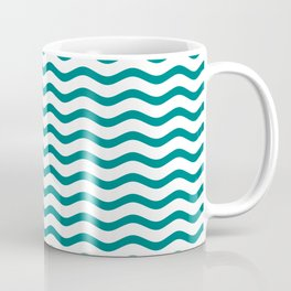 Teal and White Chevron Wave Coffee Mug