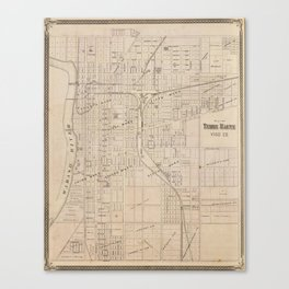 Vintage Map of Terre Haute Indiana (1876) Canvas Print
