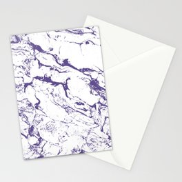 Modern trendy white marble purple ultra violet pattern Stationery Cards