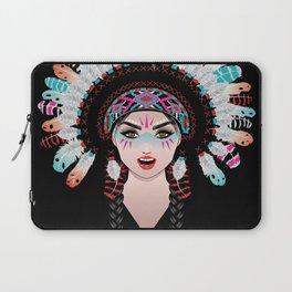 Native american woman wearing war bonnet, tribal portrait design Laptop Sleeve