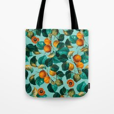 Peach and Leaf Pattern Tote Bag