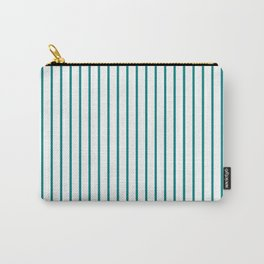 Vertical Lines (Teal/White) Carry-All Pouch