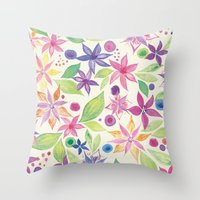leah flores Throw Pillows featuring Flores by JuanaViEs