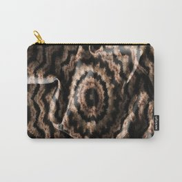 Kaleidoscope Beige Circular Fabric Texture Pattern on Black Carry-All Pouch