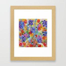 Floral Explosion 2, Floral Home Decor, Bright Colors Framed Art Print