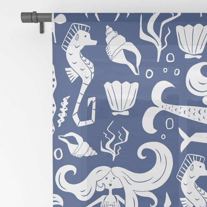 Under The Sea Navy Blue Sheer Curtain