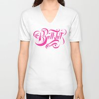 hot pink V-neck T-shirts featuring Bullshit Hot Pink by Roberlan Borges