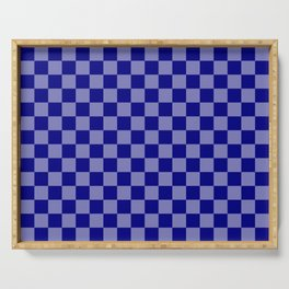 Large Navy Blue Check Pattern Serving Tray