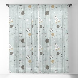 Space ships Animals Prints patterns Sheer Curtain