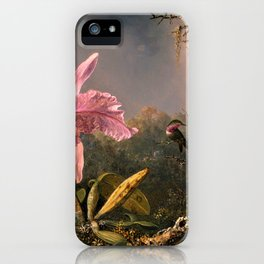 Cattleya Orchid and Three Brazilian Hummingbirds by Martin Johnson Heade. iPhone Case
