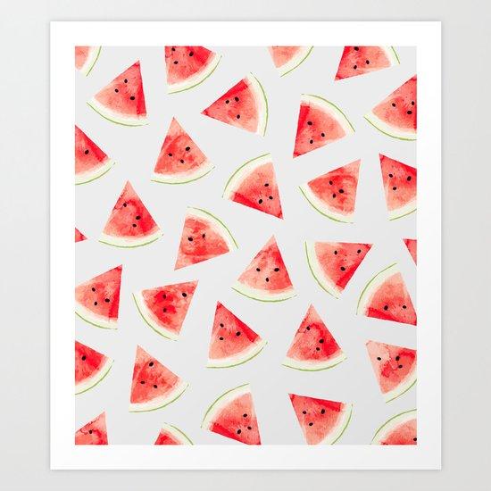 Watercolor Watermelon Pattern #society6 #buyart #decor Art Print
