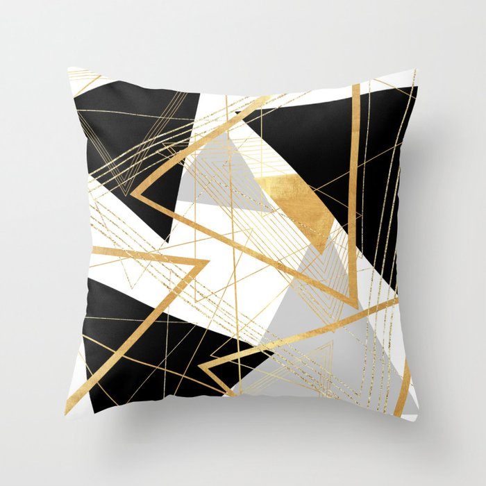 Black And Gold Geometric Throw Pillow By Lisaguenraymond Society6