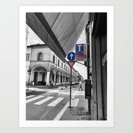 Black and White Street Photography in Faenza Italia  Art Print