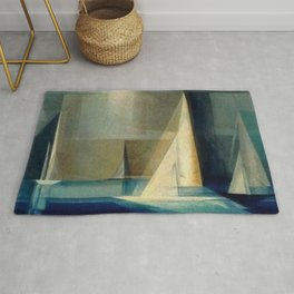 Sailing Yachts in Ocean Blue by Lyonel Feininger Rug