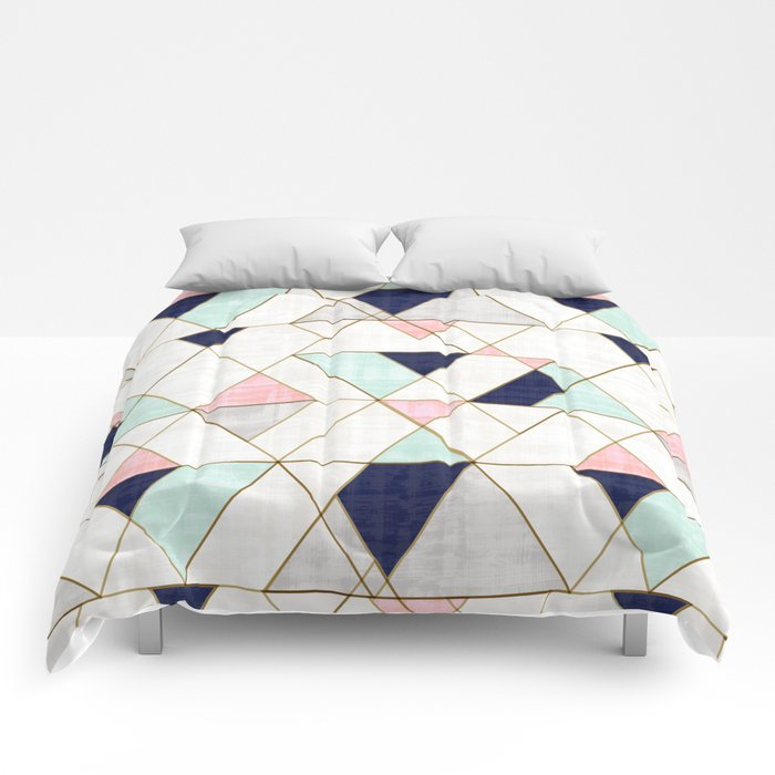 Mod Triangles - Navy Blush Mint Comforters
