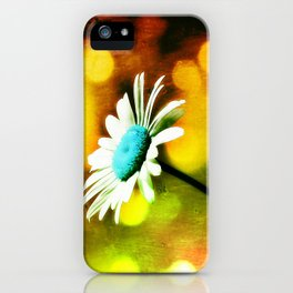 Turquoise Daisy In Gold iPhone Case