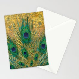 """Turquoise and golden peacock"" Stationery Cards"