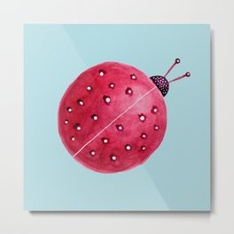 Spherical Abstract Watercolor Ladybug Metal Print