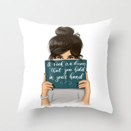 A Book Is A Dream That You Hold In Your Hand | Brunette Hair Throw Pillow
