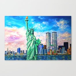NYC, WTC, Twin Towers, Statue of Liberty Canvas Print