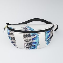 Three Feathers Watercolor Fanny Pack