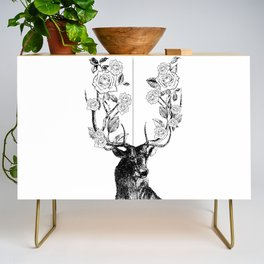 The Stag and Roses   Black and White Credenza